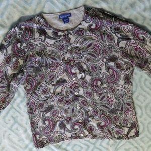 Karen Scott Purple Gray Paisley Cardigan Size L